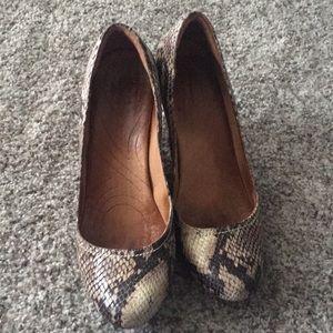 Snake print wedge heels